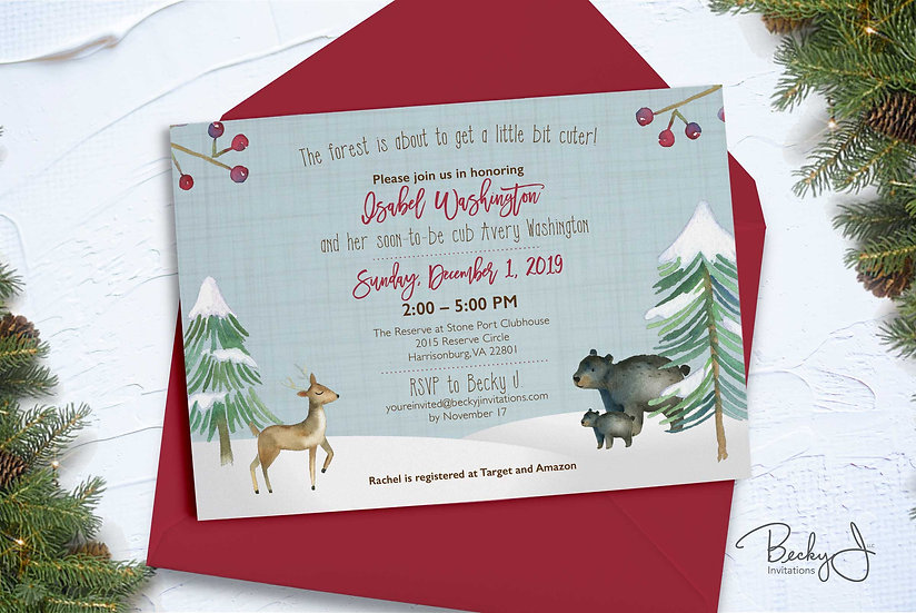Baby Shower Invitations | Winter Woodlands, Berries