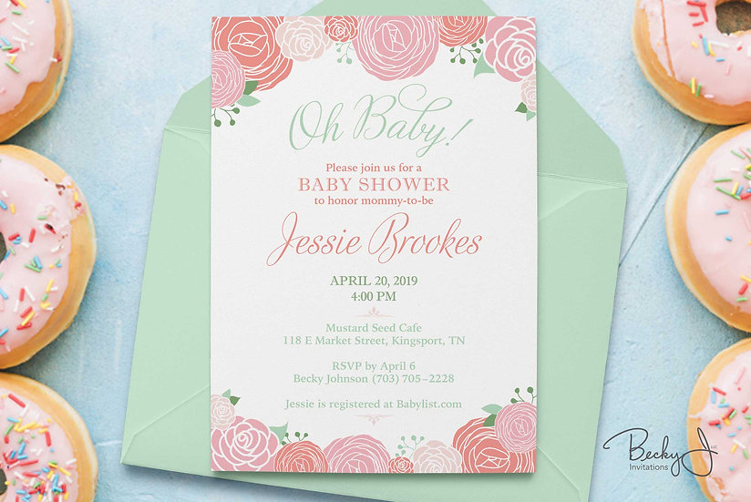 Baby Shower Invitations - Peach, Coral Florals - Vector Carnations