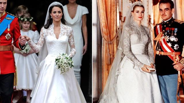 Kate Middleton's wedding dress vs Grace Kelly's wedding dress