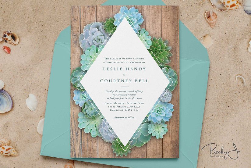 Wedding Invitations | Turquoise Succulents
