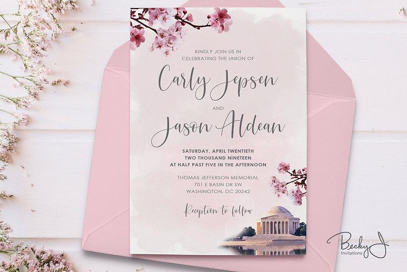 Wedding Invitation | Cherry Blossoms & Jefferson Memorial