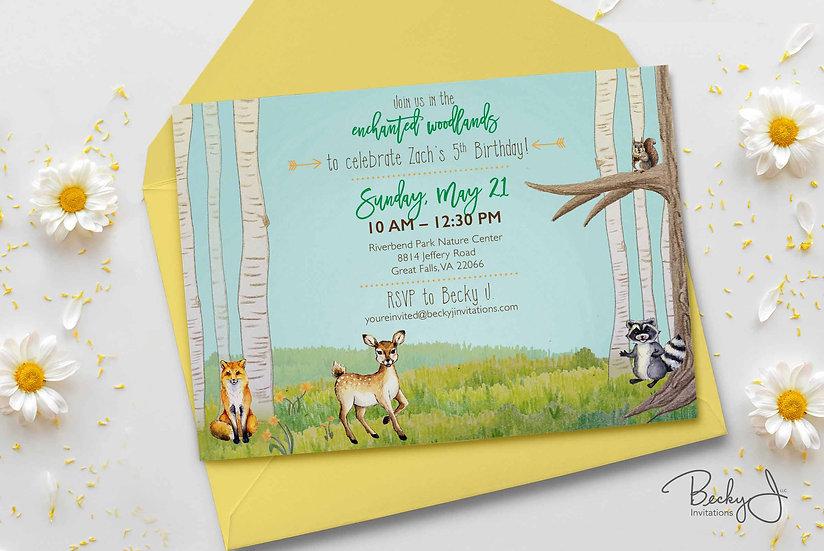 Kid Birthday Invitations | Spring Woodland Creatures | Hand-drawn Art