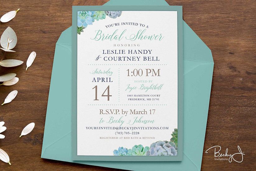 Bridal Shower Invitation | Succulents in Teal