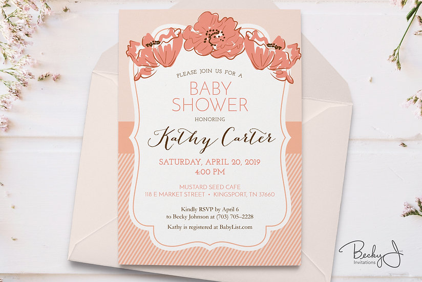 Baby Shower Invitations - Living Coral Florals - Spring Poppies