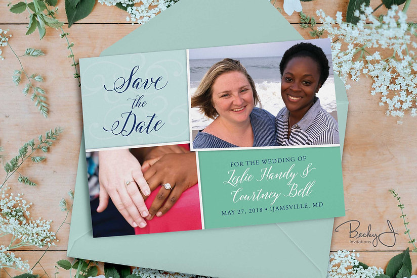 Save the Date | 2-Photo and Turquoise