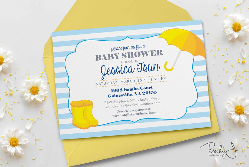 Baby Shower Invitations | Rainy Boots and Umbrella | Yellow and Blue