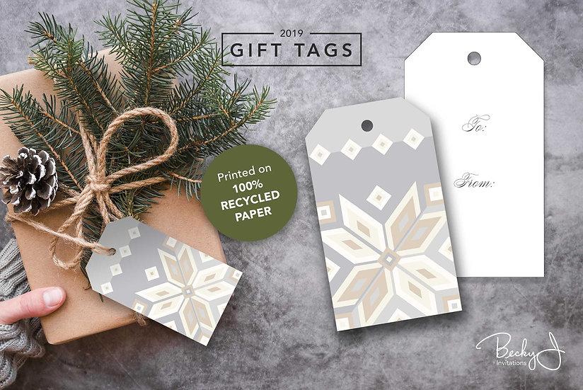 Gift Tags | Elegant | Geometric Snowflakes | 6 Pack