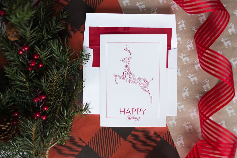 Happy Holidays Reindeer Greeting Card