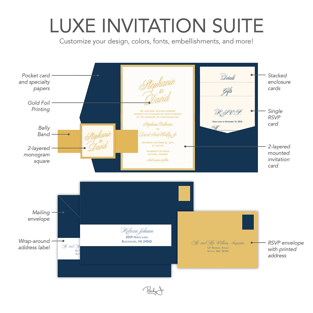 Luxe Invitation Suite Example from Becky J. Invitations