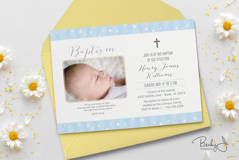 Baptism Invitation | Our Little Star w Photo