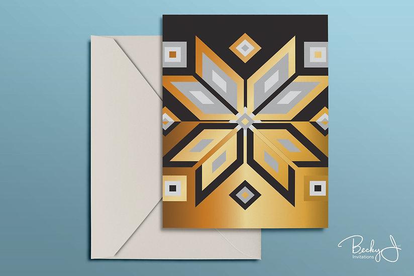 Snowflake Card | Black & Gold