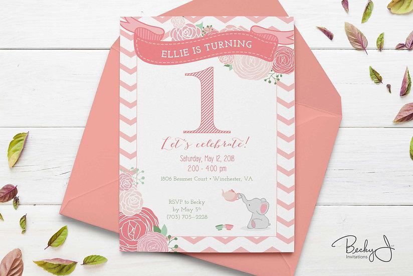 Birthday Invitation | Elephant Tea Party