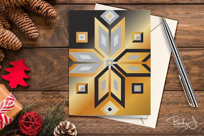 Snowflake Card | Black & Gold #2