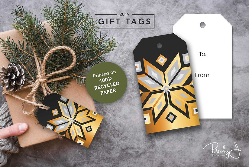 Gift Tags | Black and Gold | Geometric Snowflakes | 6 Pack