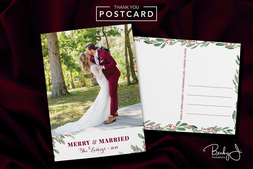 Holiday Postcard | 1 Photo | Merry & Married