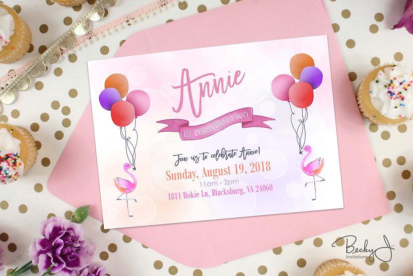 Birthday Invitation | Flamingos and Balloons