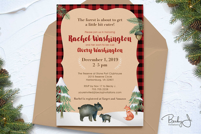 Baby Shower Invitations | Winter Woodlands & Plain
