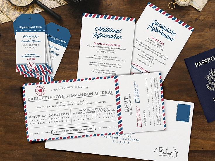 Wedding Invitation | Airmail & Perforated RSVP