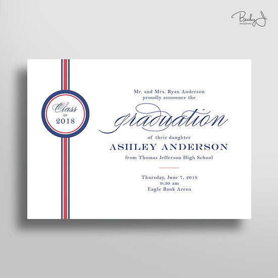 Graduation Announcement - School Colors (Horizontal)