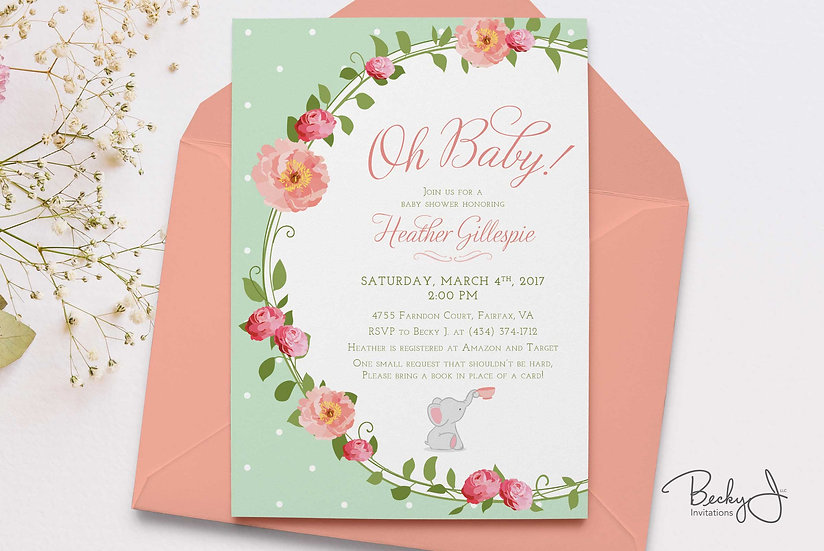 Baby Shower Invitations | Rose Garden, Tea Party, Baby Elephant | Bring a Book!