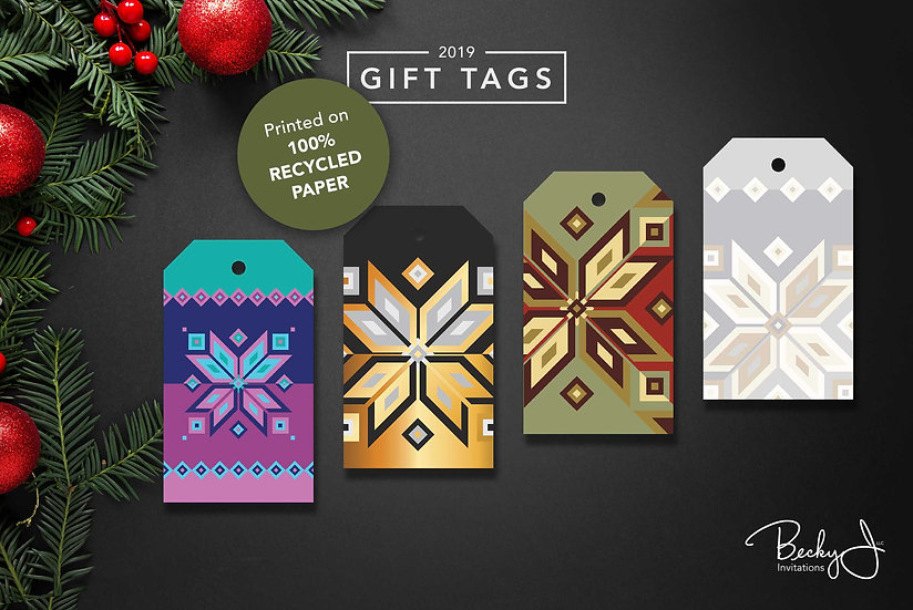 Gift Tags | All 4 Design | Assorted Geometric Snowflakes | 12 Pack