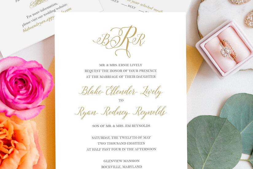 Wedding Invitation | Soft & Romantic Gold