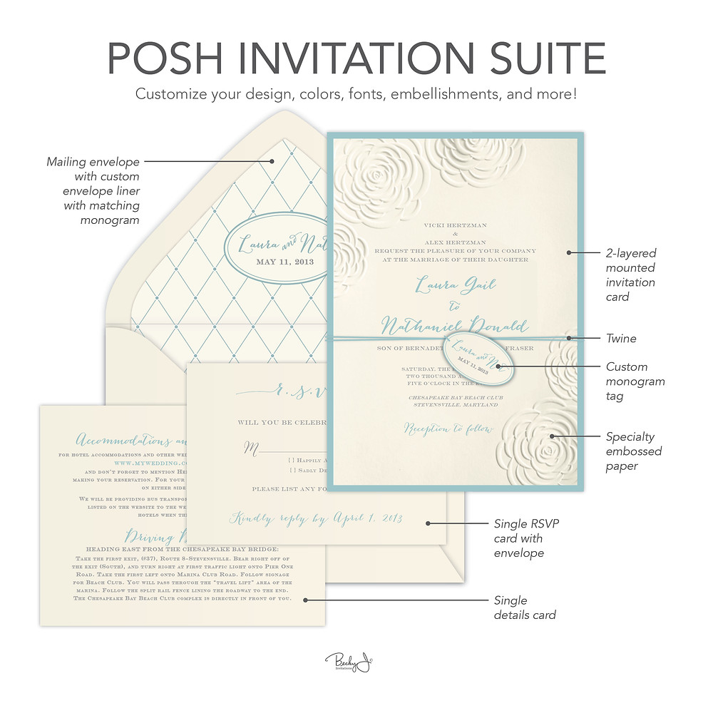 Posh Invitation Suite Example from Becky J. Invitations