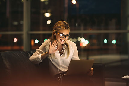 Woman on video call using a digital tabl