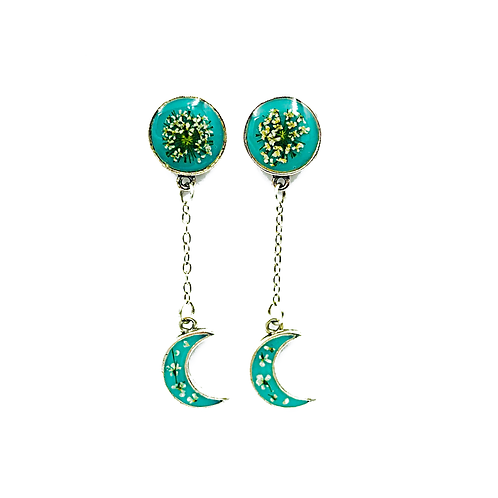Queen Anne's Lace Crescent Moon Earrings