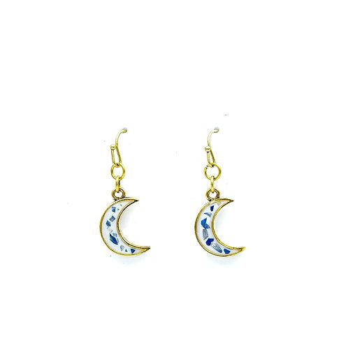 Blue Aster Crescent Earrings