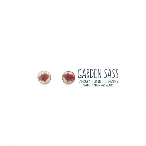 Red Bloom Stud Earrings