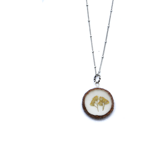 Golden Flower Acorn Necklace
