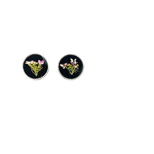 Pink and Black Dime Studs