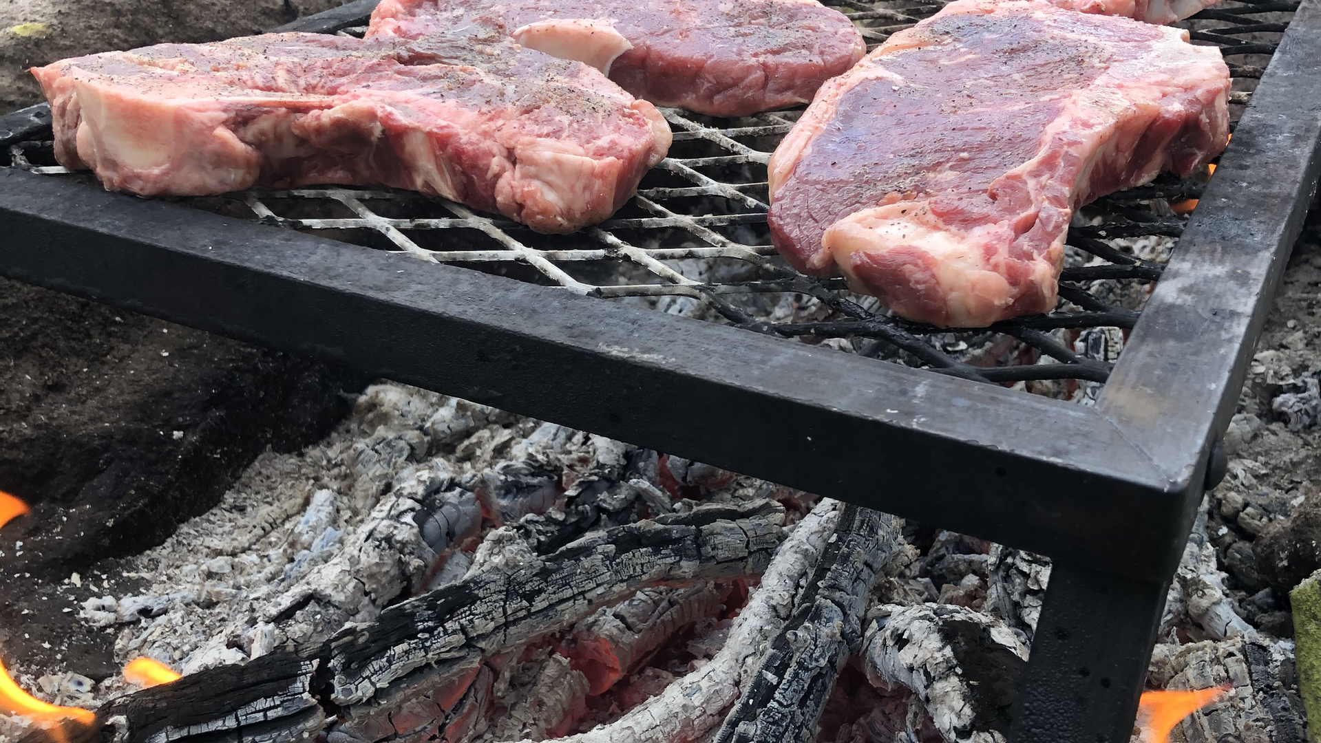 Lobo Outfitters, Packtrip, steak dinner, campfire