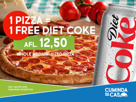 Special: Pizza = 1 FREE can of Diet Coke!