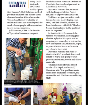 In the News: Nonprofits Develops More Affordable Prosthetic Liners