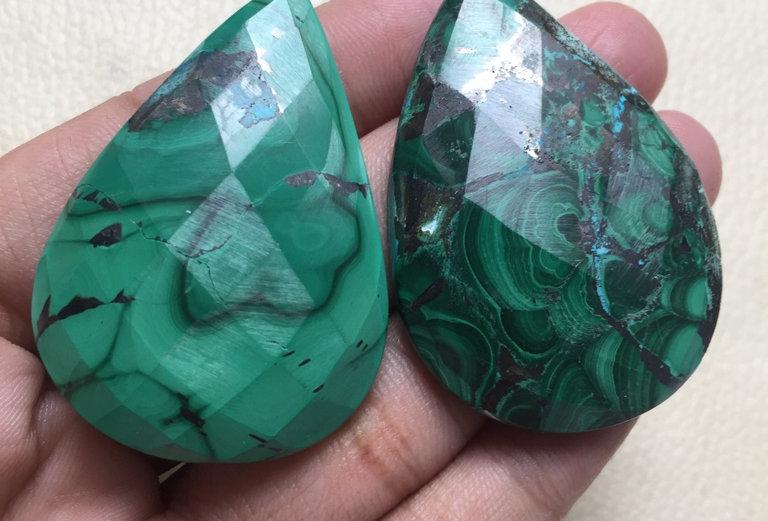 Azurite Malachite Rose Cut Cabochon 2 Piece Size: 50-49 MM Approx
