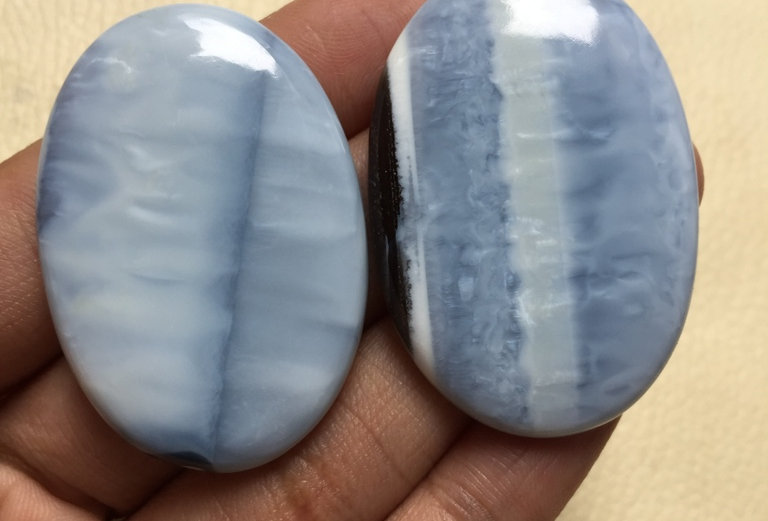 Blue Opal Cabochon 2 Piece Size: 45-44 MM Approx