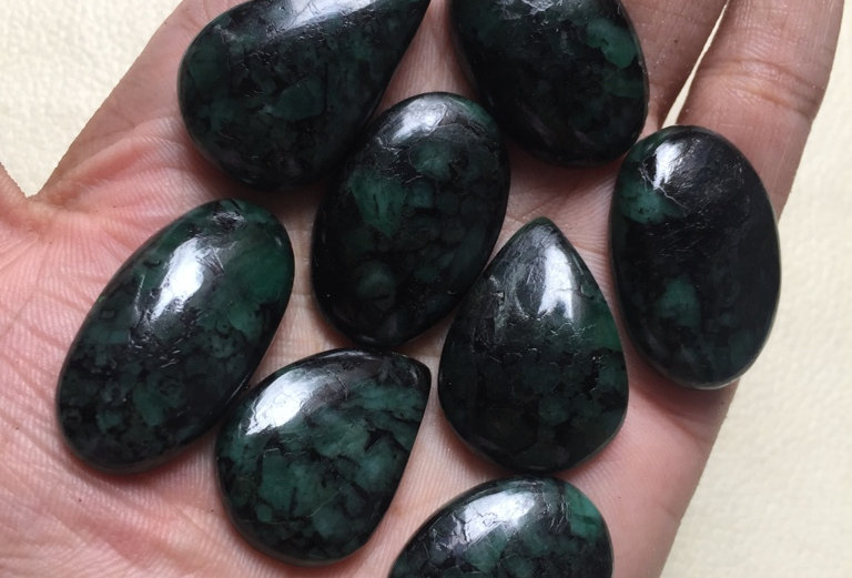 Emerald Cabochon 9 Piece Size: 28-17 MM Approx