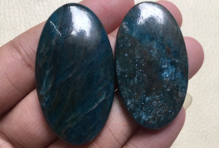 Apatite Cabochon 2 Piece Size: 46-42 MM Approx