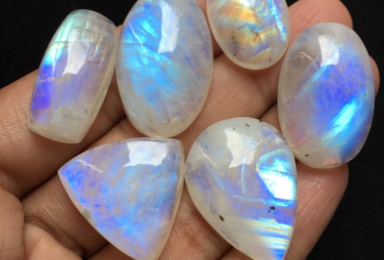 Rainbow Moostone Cabochon 6 Piece Size: 28-22 MM Approx