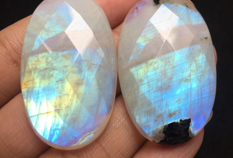 Rainbow Moonstone Rose Cut Cabochon 2 Piece Size: 44-43 MM Approx