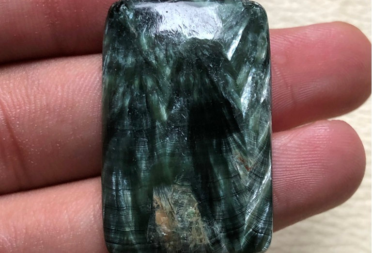 Seraphinite Cabochon 1 Piece Size: 35 MM Approx