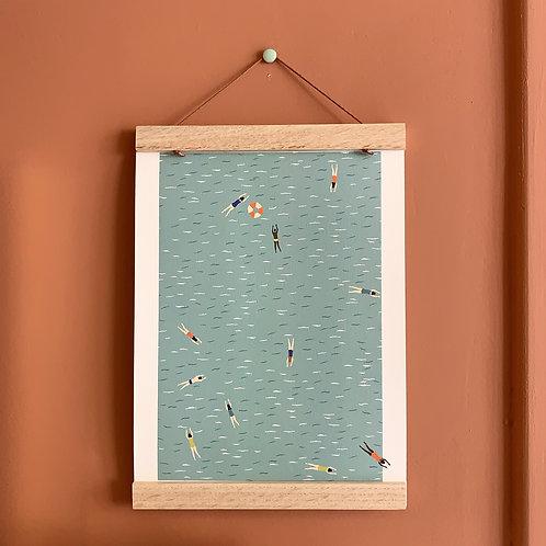 Affiche Les baigneurs, et son cadre. Fabriqué en France