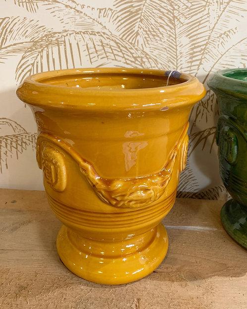 Vase d'Anduze émaillé jaune