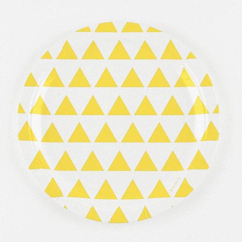 Assiettes triangles jaunes