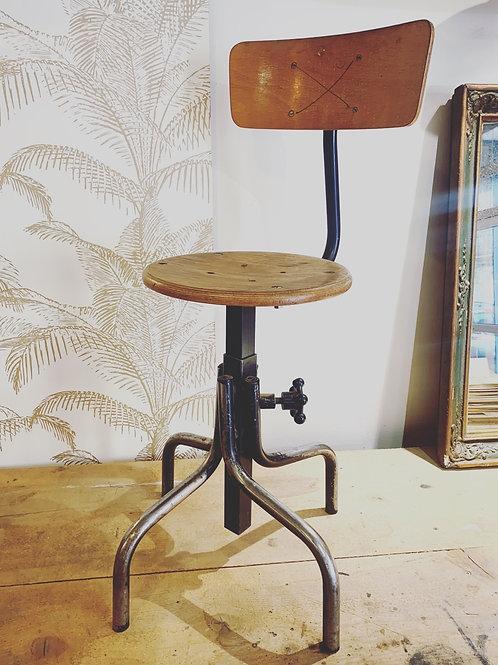 Chaise d'atelier réglable, bois et métal