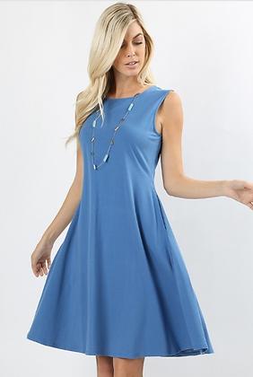Light Blue Pocket Dress