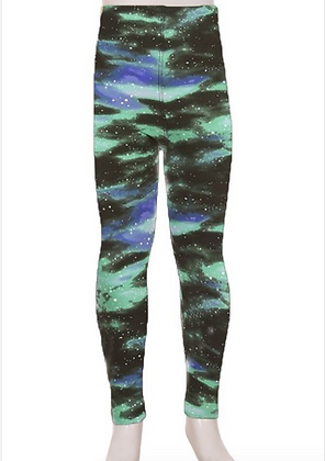 Green Galaxy Kids Leggings