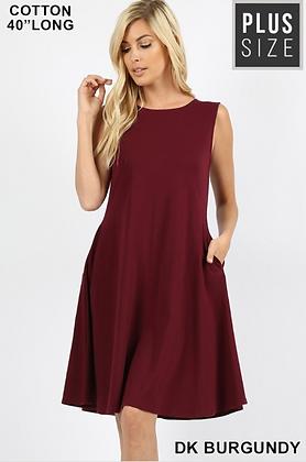 Burgundy Plus Pocket Dress